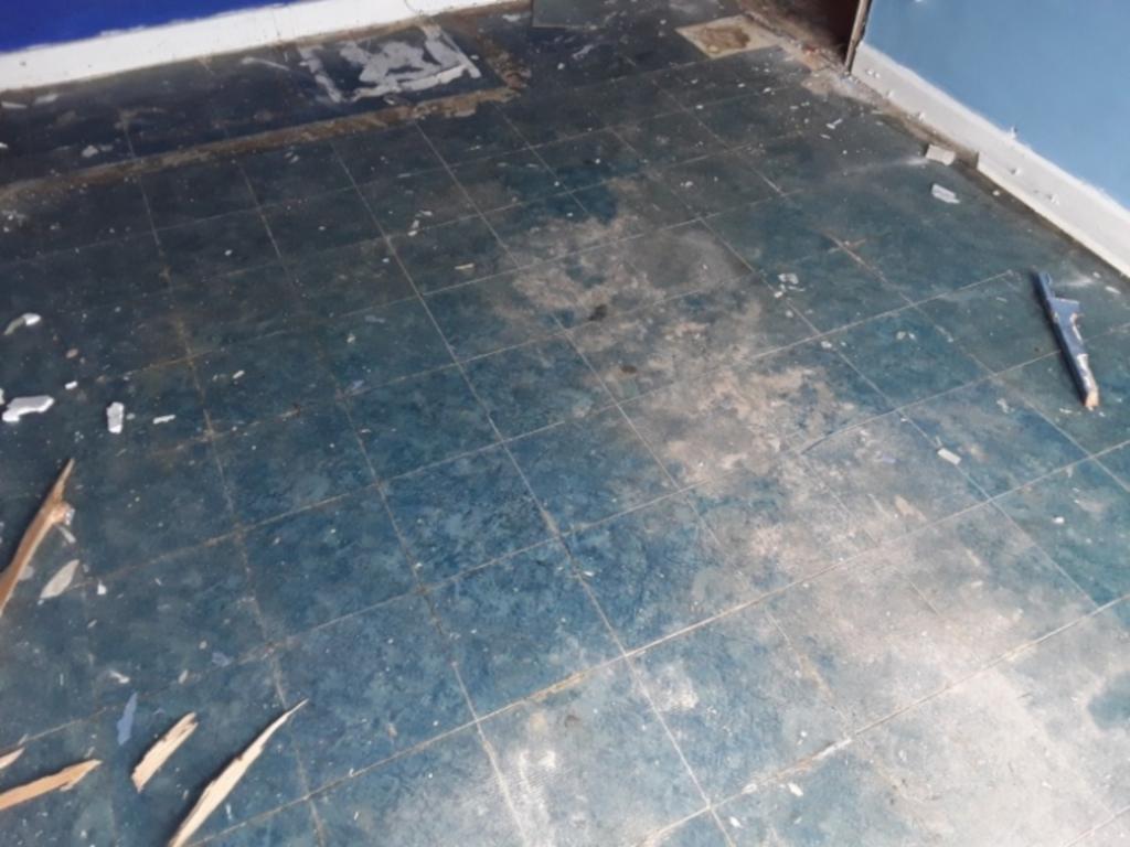 Blue vinyl floor tiles