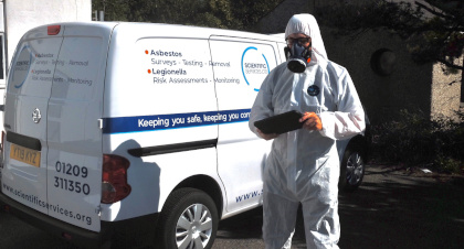 Asbestos consultant and van