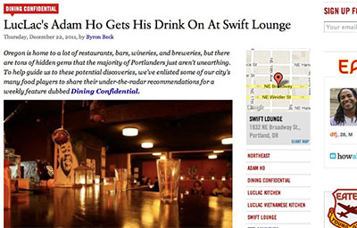 PDX EATER – ADAM HO GETS HIS DRINK ON AT SWIFT LOUNGE