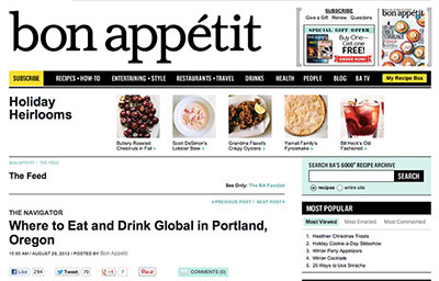 BON APPETIT: WHERE TO EAT AND DRINK GLOBAL IN PORTLAND, OREGON