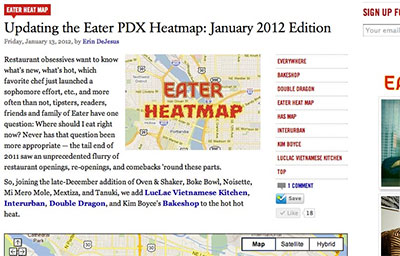 PDX EATER HEATMAP: January 2012 Edition