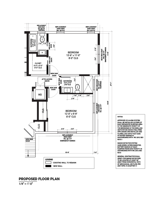 Sample interior remodel proposed floor plan plan