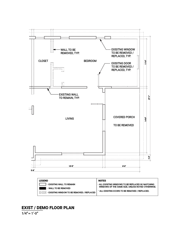 Sample interior remodel exist/demo plan plan