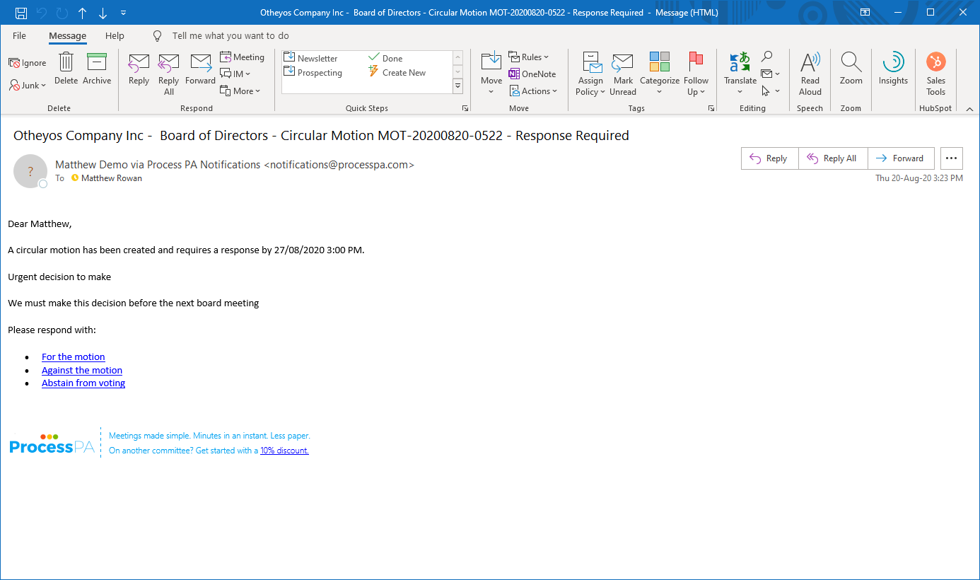Circular Motion Email