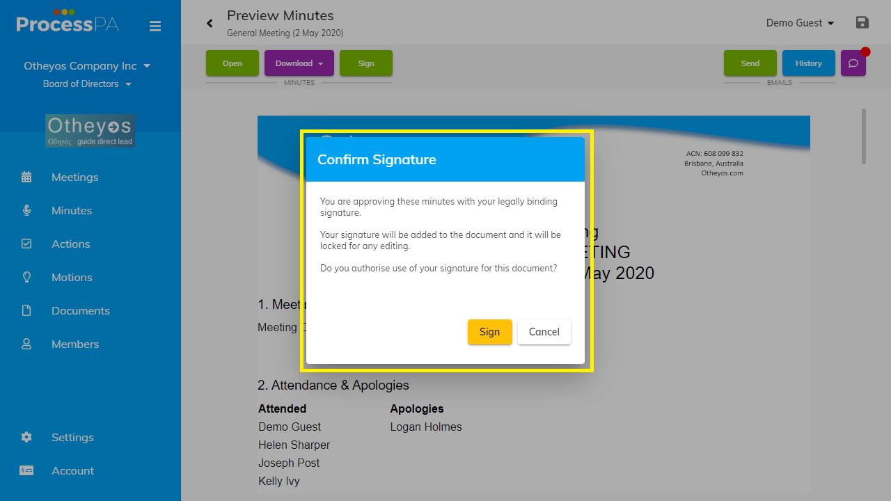 Confirm Signature