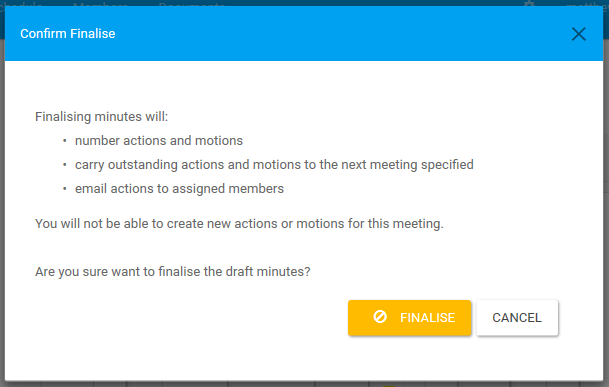 Finalise Meeting Confirmation