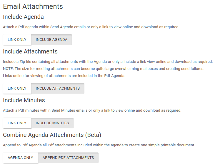 Email attachment settings