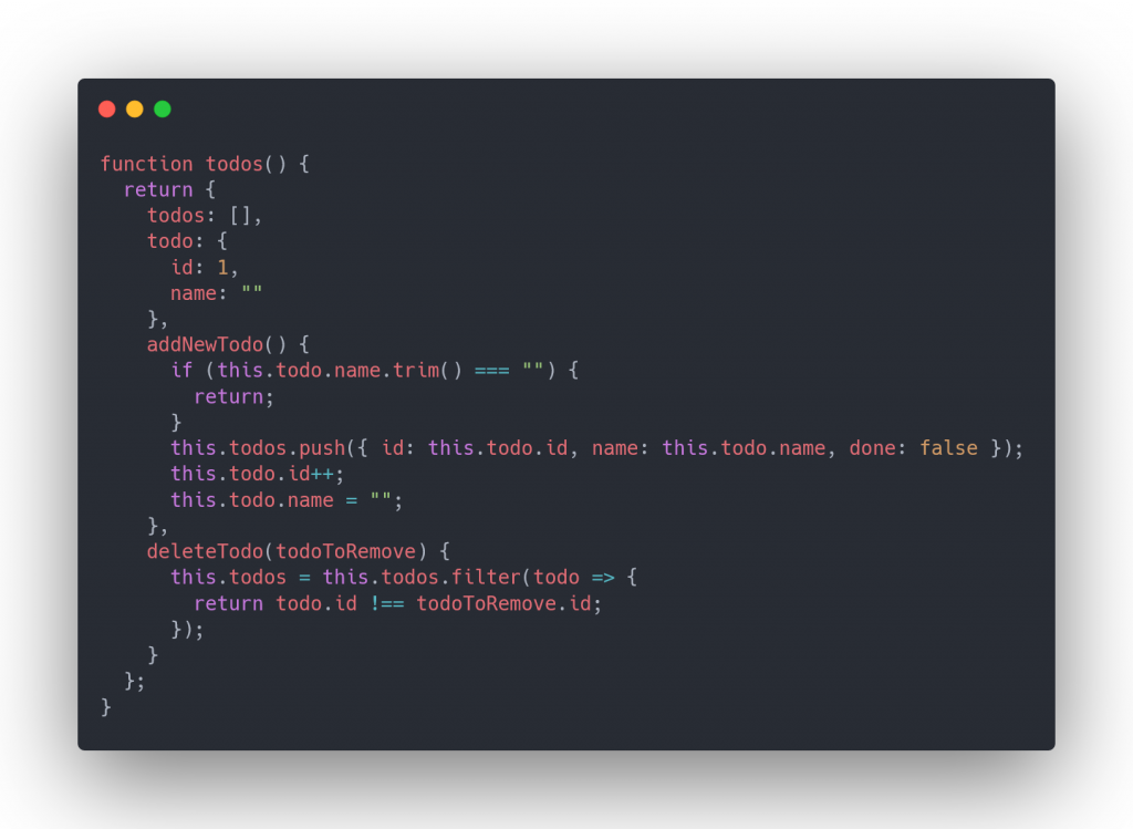 writing our todos function for AlpineJs