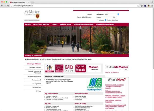 Portfolio item: Working at McMaster University