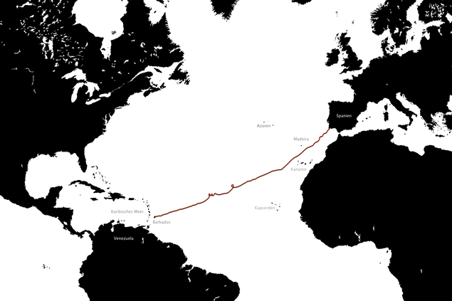 Janice Jakaits Reise Route.