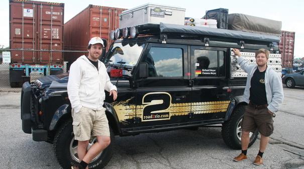 In Baltimore am Hafen wird unser Land Rover Defender abgeholt