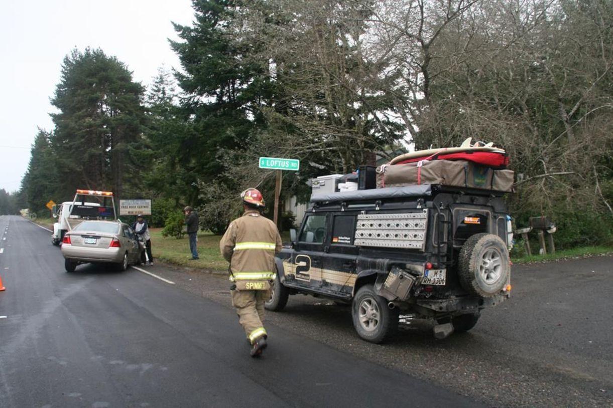 Unfall mit dem Land Rover Defender in Oregon auf dem Highway 1