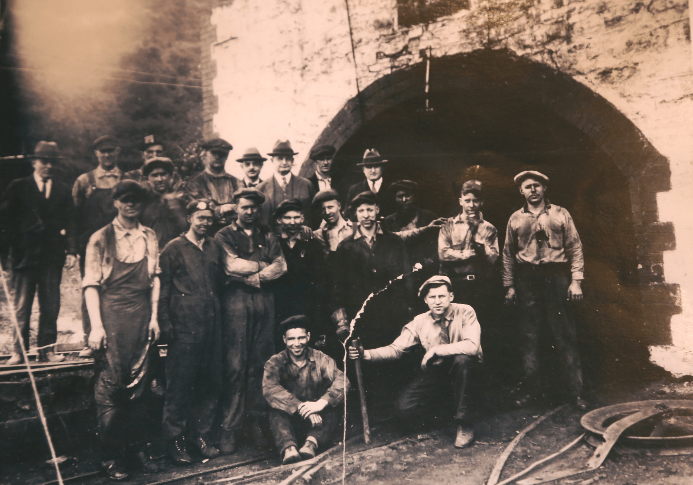 Miners at the mouth of Banning #2 Coal Mine in Whitsett, PA circa 1920. (Photo courtesy of The Whitsett Historical Society)
