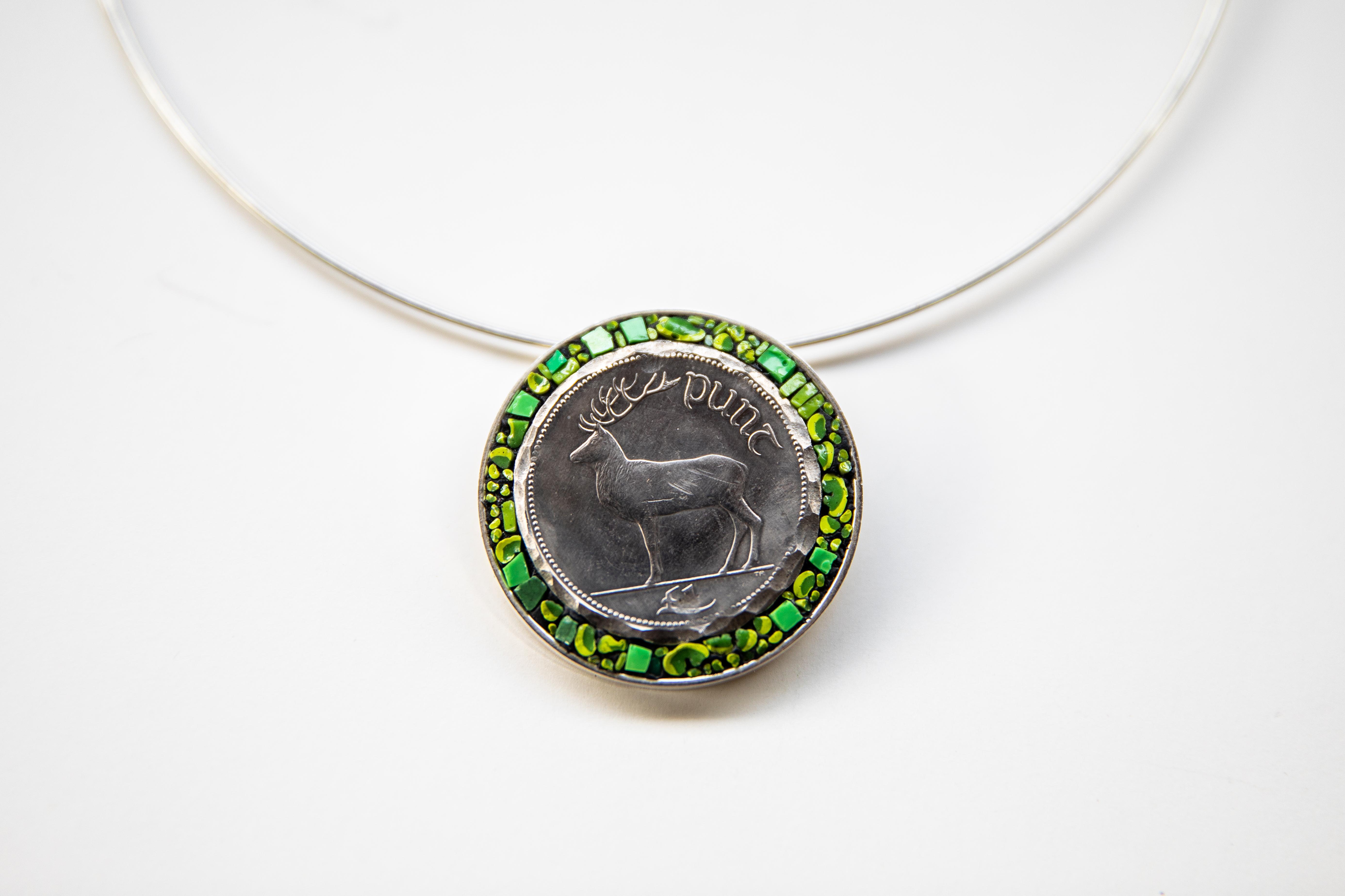 Irish Stag Coin Pendant  thumbnail