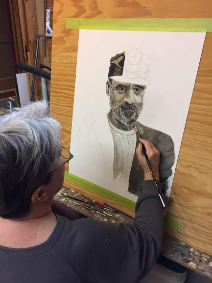 Margy Cottingham working on Portrait of a miner