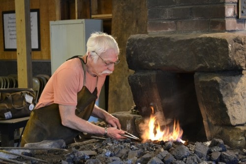 Dennis Gilkey at the forge, Touchstone Center for Crafts