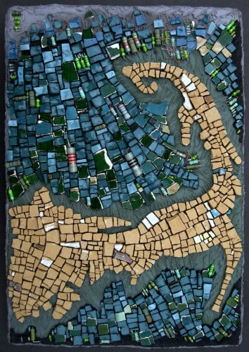 """Rachel Sager """"Cape of the Cod"""" mosaic - map cartography"""