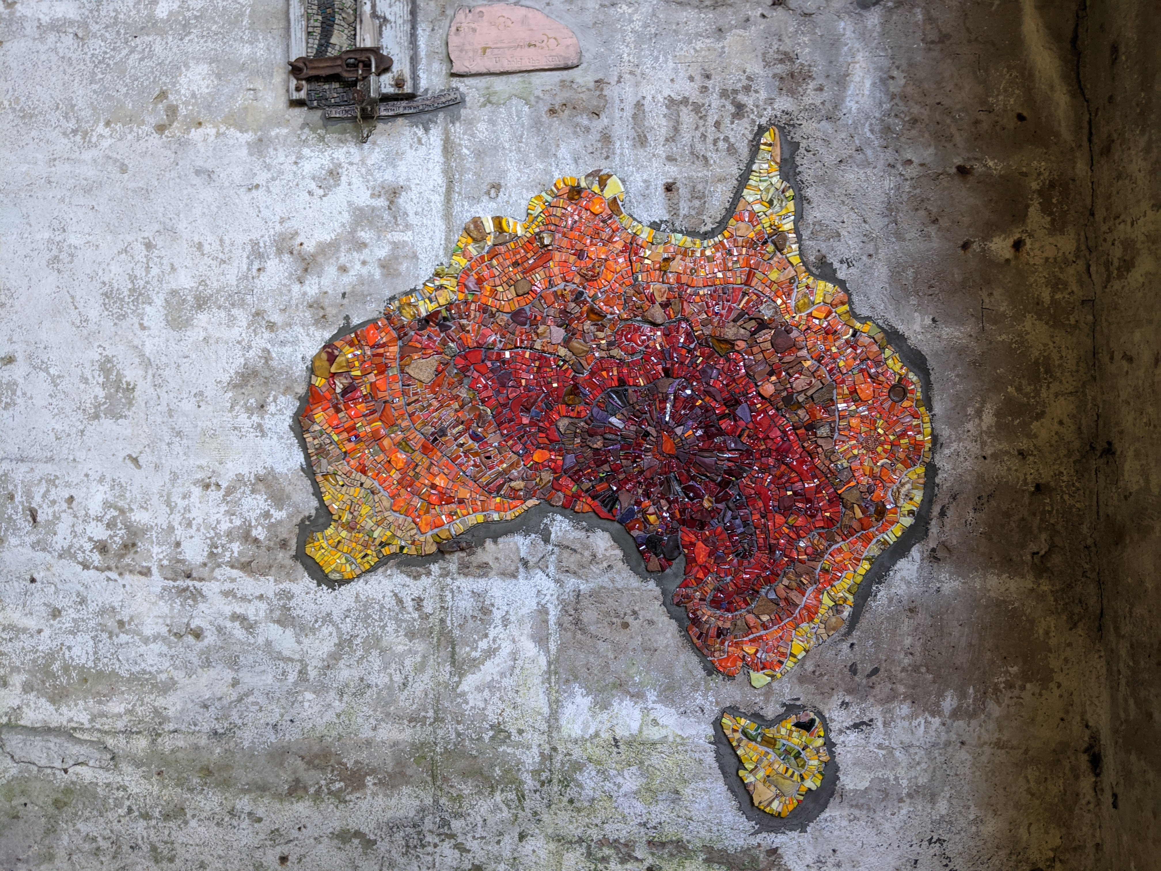 Representation of Australia (on fire) and Tasmania in the Map Room by Caitlin Hepworth and Marian Shapiro