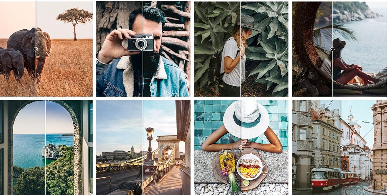 Een aantal afbeeldingen van before / after voorbeelden wat Pixgrade met je foto's kan doen.