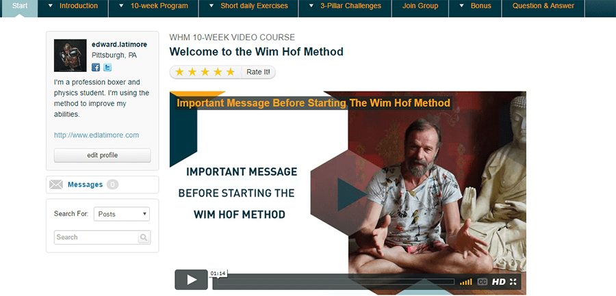 The welcome page of the Wim Hof video course