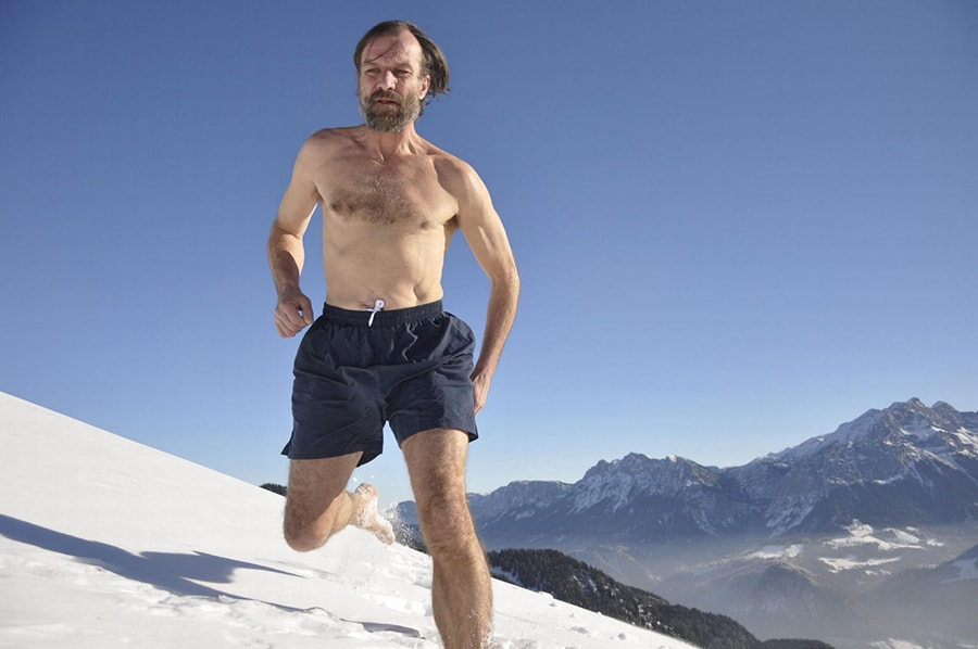 Wim Hof running barefoot in the snow
