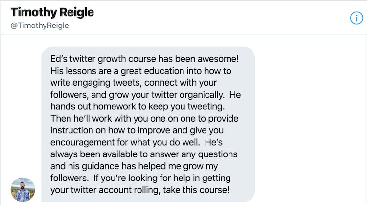 Testimonial of ed latimore twitter by Timothy Reigle