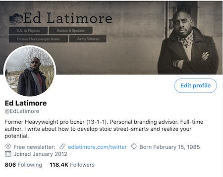 Ed Latimore Twitter Profile