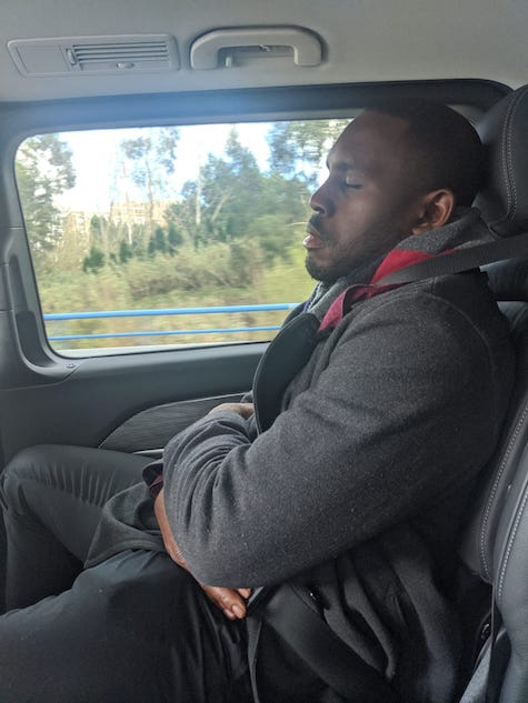 Sleep in car from boring conversation