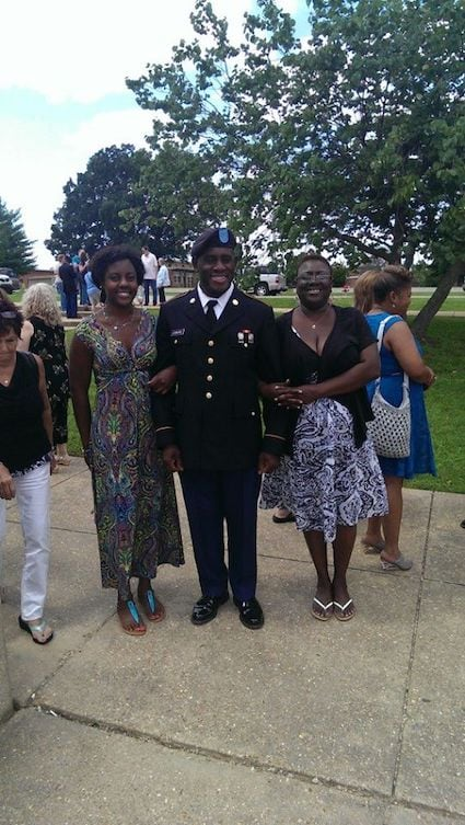 Basic training graduation with mother