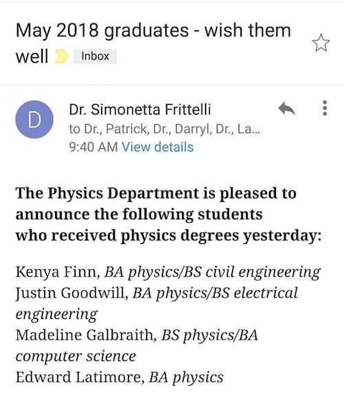 Physics degree announcement from Duquesne