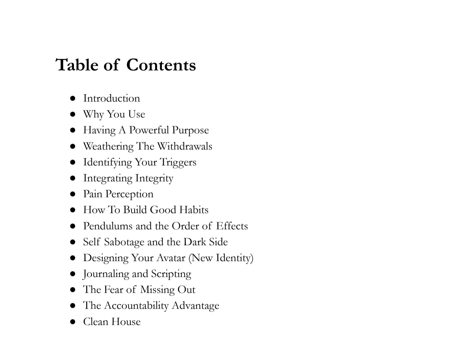 How to break bad habits table of contents 1