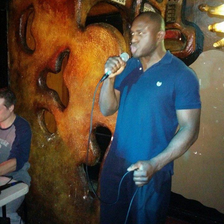 Ed Latimore singing karaoke