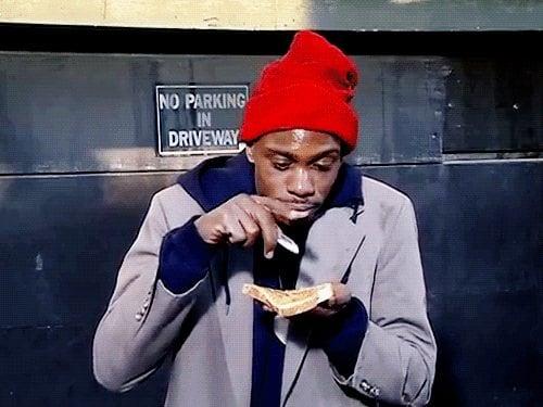 Crackhead getting high in the ghetto