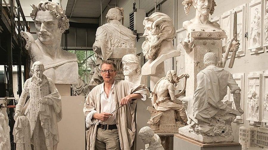 Scottish sculptor Alexander Stoddart in his studio