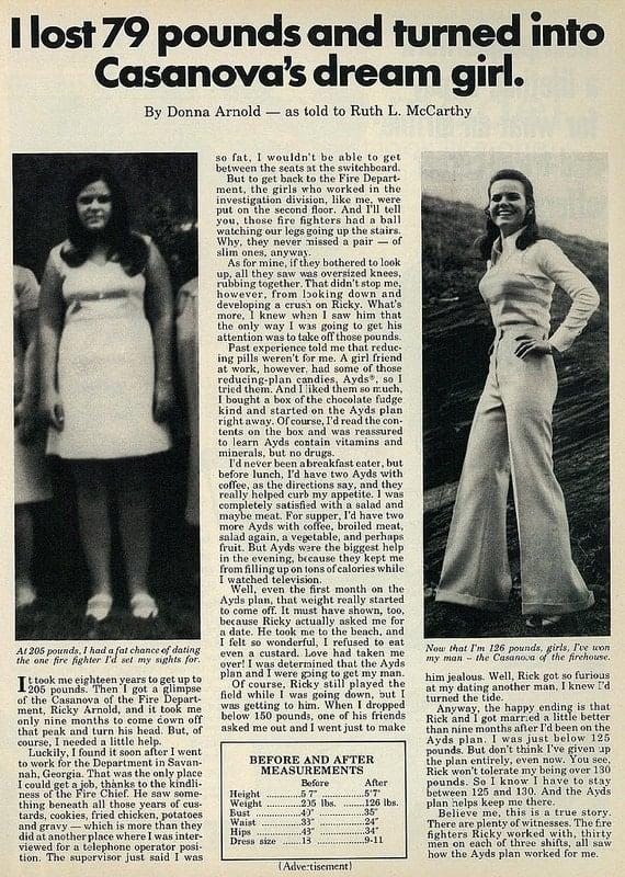 """1973 advertisement for Ayds Weight Loss Plan, """"Casanova's Dream Girl"""""""