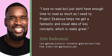 Yele Bademosi reviewing Project Ekalavya book summaries