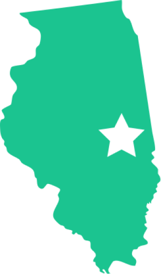illinois with star over east central area