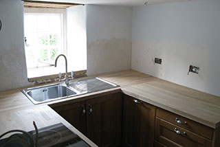 The kitchen renovation in progress