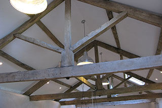 The restored A-frame and new ceiling with installed lights after restoration