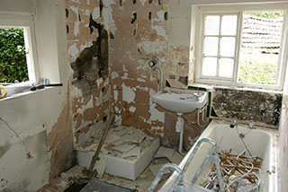 The bathroom being renovated
