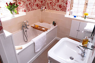 The new bathroom of the restored cottage