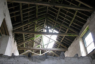The interior roof before the barn restoration