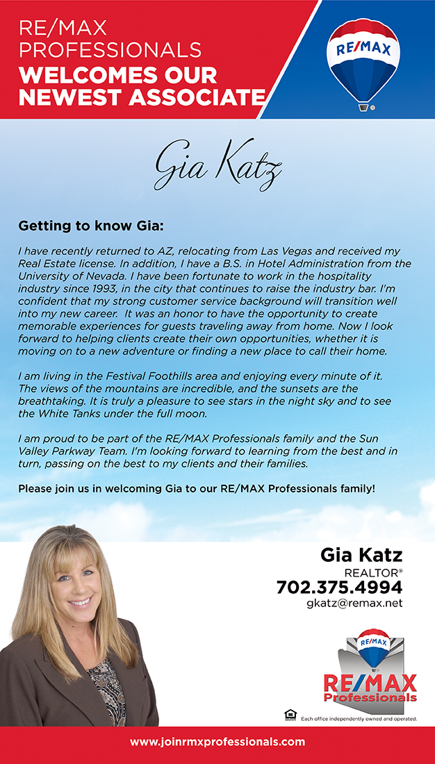 Welcome to RE/MAX Professionals Gia Katz
