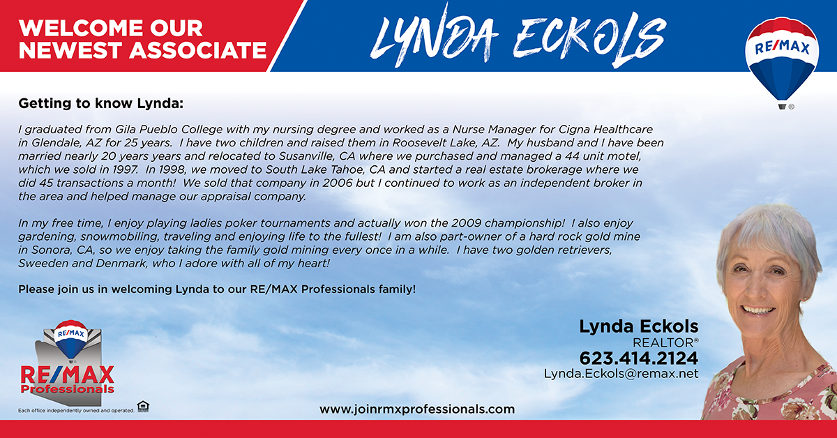 Welcome to RE/MAX Professionals Lynda Eckols