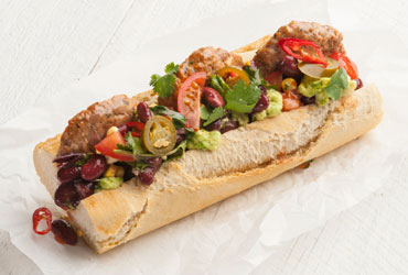 Burrito baguette with meatballs