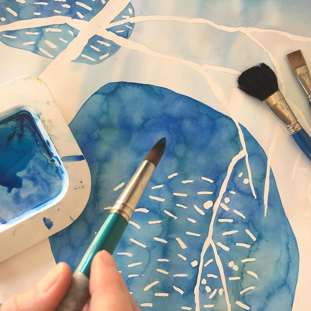 paintbrush blue landscape