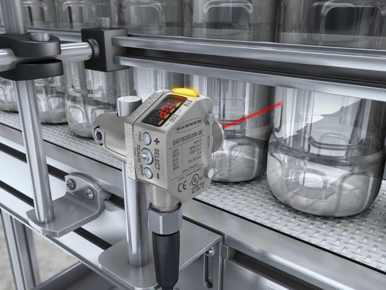 Q4X laser sensor and clear bottles