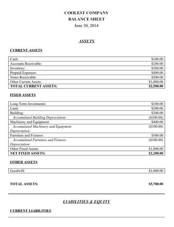 View Free Balance Sheet