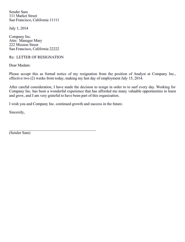 View Free Resignation Letter