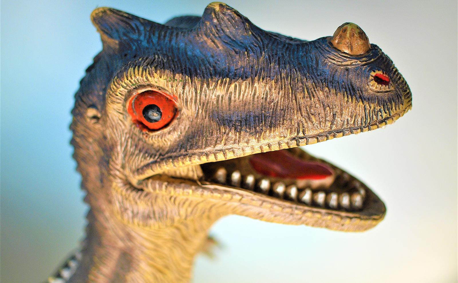 close up of toy dinosaur